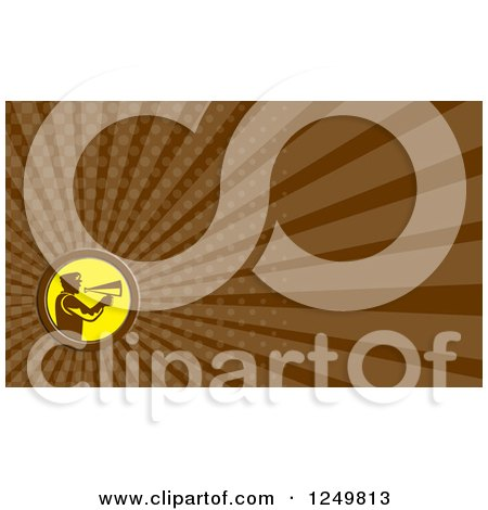 Clipart of a Director Cameraman Using a Megaphone and Ray Business Card Design - Royalty Free Illustration by patrimonio