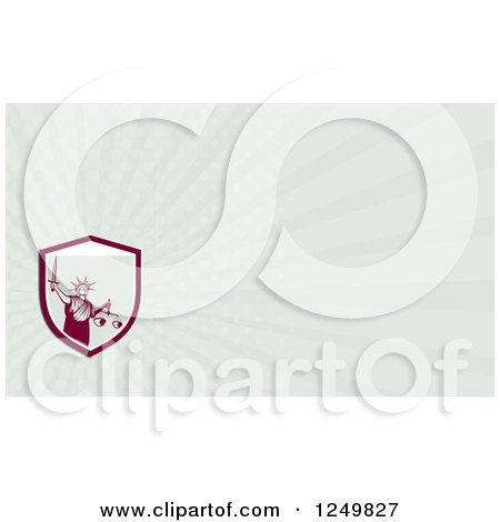 Clipart of a Lady Justice with Scales and Sword and Ray Business Card Design - Royalty Free Illustration by patrimonio