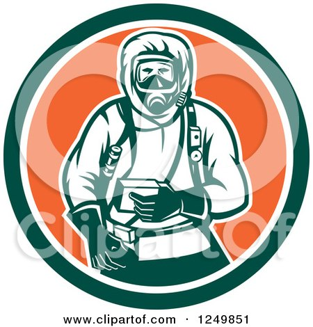 Clipart of a Retro Woodcut Hazchem Worker in a Circle - Royalty Free Vector Illustration by patrimonio
