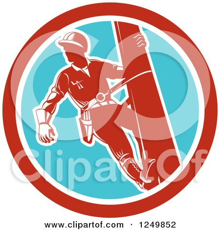 Clipart of a Retro Lineman Worker in a Blue and Red Circle - Royalty Free Vector Illustration by patrimonio