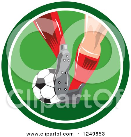 Clipart of a Soccer Player's Legs in a Green Circle - Royalty Free Vector Illustration by patrimonio