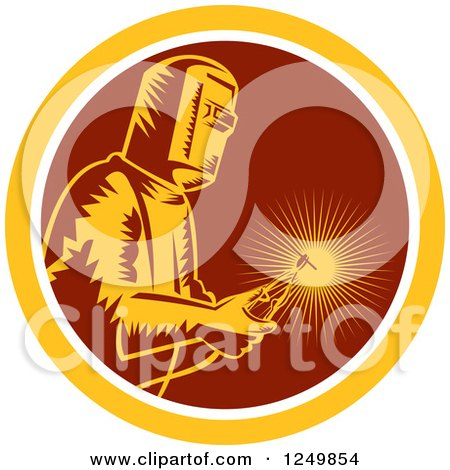 Clipart of a Retro Woodcut Welder with a Torch in a Maroon and Yellow Circle - Royalty Free Vector Illustration by patrimonio