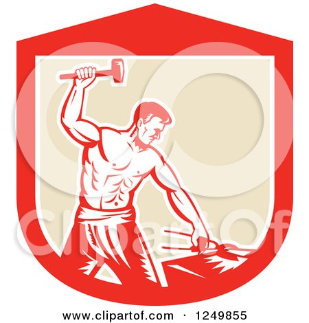 Clipart of a Retro Woodcut Male Blacksmith Man Hammering in a Shield - Royalty Free Vector Illustration by patrimonio