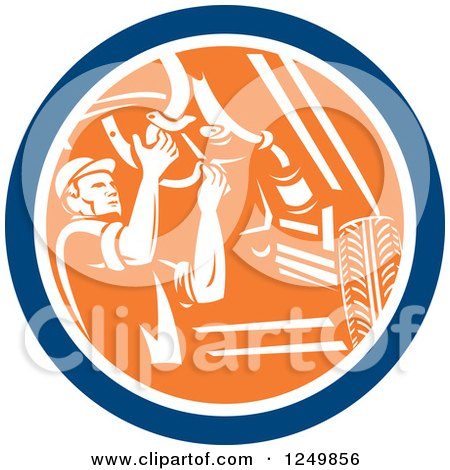 Clipart of a Retro Male Car Mechanic Working Under an Automobile in a Circle - Royalty Free Vector Illustration by patrimonio