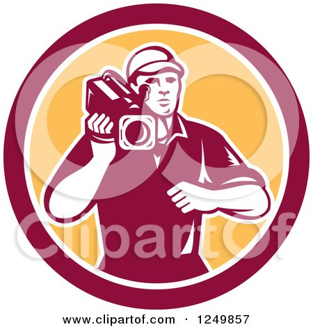 Clipart of a Retro Woodcut Cameraman in a Yellow and Maroon Circle - Royalty Free Vector Illustration by patrimonio