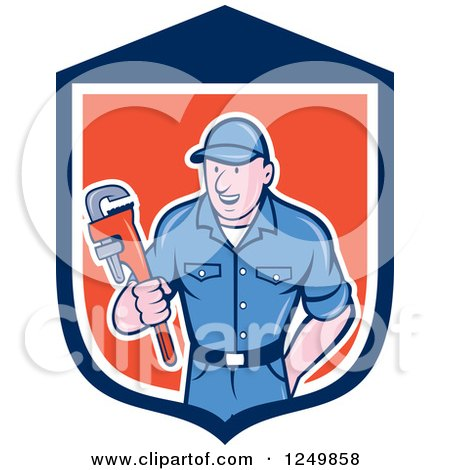 Clipart of a Cartoon Male Plumber Holding a Monkey Wrench in a Shield - Royalty Free Vector Illustration by patrimonio