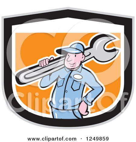 Clipart of a Cartoon Male Plumber Carrying a Wrench in a Black White and Orange Shield - Royalty Free Vector Illustration by patrimonio