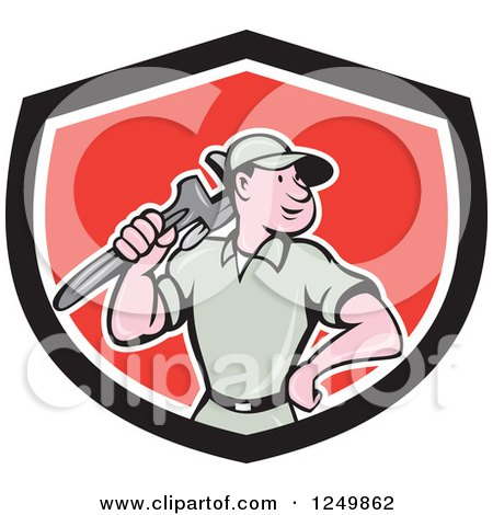Clipart of a Cartoon Male Plumber with a Monkey Wrench in a Red and Black Shield - Royalty Free Vector Illustration by patrimonio