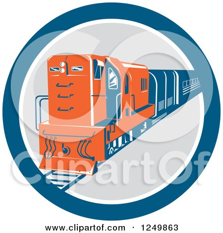 Clipart of a Retro Blue and Orange Diesel Train in a Circle - Royalty Free Vector Illustration by patrimonio