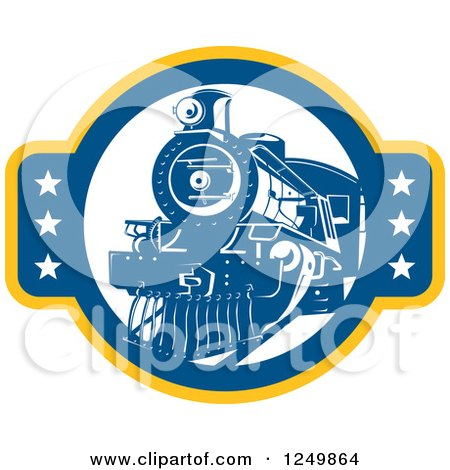 Clipart of a Retro Blue Steam Train with Stars - Royalty Free Vector Illustration by patrimonio