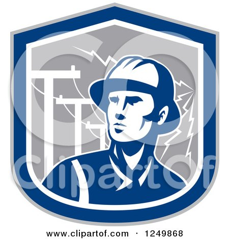 Clipart of a Retro Blue Power Lineman in a Shield with Bolts - Royalty Free Vector Illustration by patrimonio