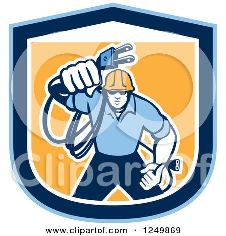 Clipart of a Retro Male Electrician with a Cord in a Blue and Orange Shield - Royalty Free Vector Illustration by patrimonio