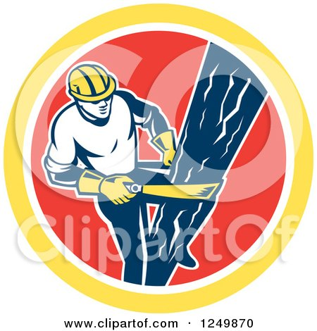 Clipart of a Retro Male Lineman Climbing a Pole in a Red and Yellow Circle - Royalty Free Vector Illustration by patrimonio