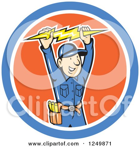 Clipart of a Cartoon Male Electrician Holding up a Bolt in a Circle - Royalty Free Vector Illustration by patrimonio