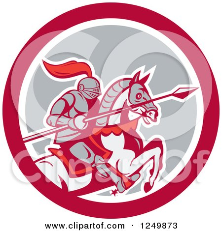 Clipart of a Horseback Armoured Knight with a Lance in a Circle - Royalty Free Vector Illustration by patrimonio