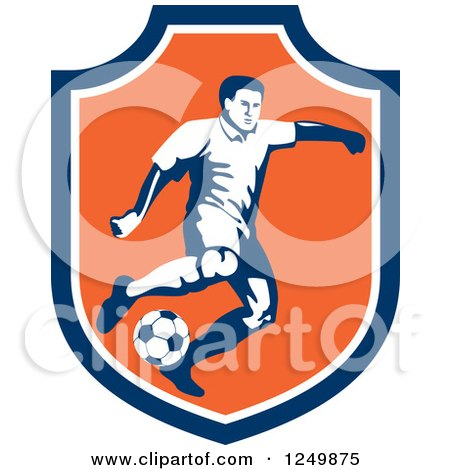 Clipart of a Retro Soccer Player in a Blue and Orange Shield - Royalty Free Vector Illustration by patrimonio