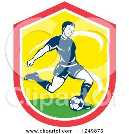 Clipart of a Retro Soccer Player Kicking in a Red and Yellow Shield - Royalty Free Vector Illustration by patrimonio
