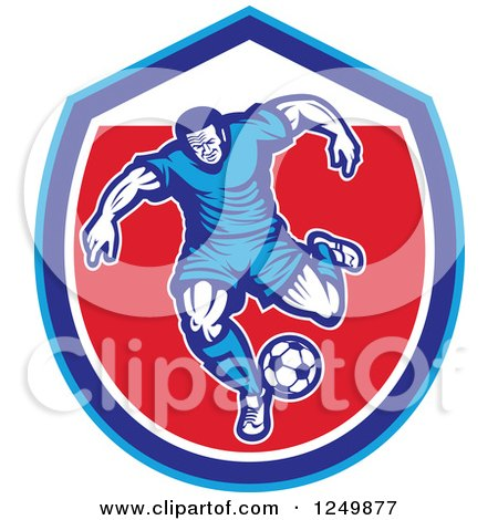 Clipart of a Retro Soccer Player in a Blue and Red Shield - Royalty Free Vector Illustration by patrimonio