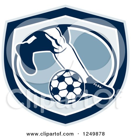 Clipart of Legs of a Retro Soccer Player Kicking in a Blue Shield - Royalty Free Vector Illustration by patrimonio