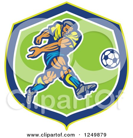Clipart of a Retro Soccer Player Kicking in a Blue and Green Shield - Royalty Free Vector Illustration by patrimonio