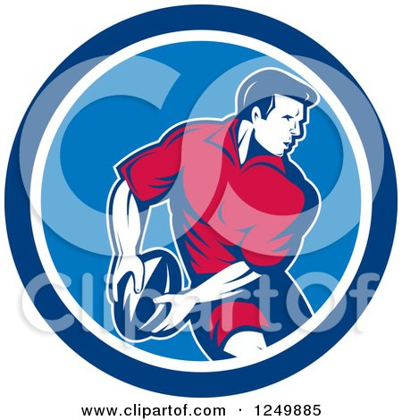 Clipart of a Retro Rugby Player in a Blue Circle - Royalty Free Vector Illustration by patrimonio