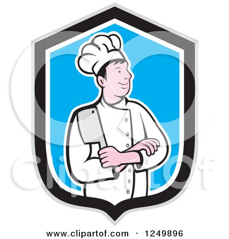 Clipart of a Cartoon Male Chef with Folded Arms and a Knife in a Blue and Black Shield - Royalty Free Vector Illustration by patrimonio