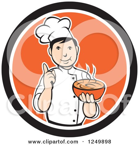 Clipart of a Cartoon Male Chef Holding a Bowl of Hot Soup in a Black and Orange Circle - Royalty Free Vector Illustration by patrimonio