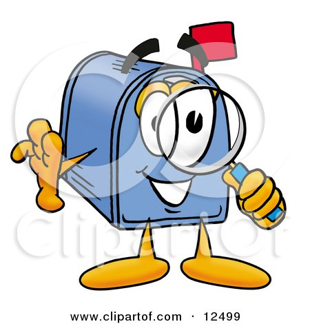 Clipart Picture of a Blue Postal Mailbox Cartoon Character Looking Through a Magnifying Glass by Toons4Biz