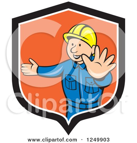 Cartoon Male Road Construction Worker Directing Traffic in a Shield Posters, Art Prints