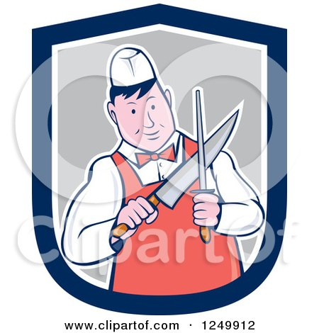 Clipart of a Cartoon Male Butcher Sharpening a Knife in a Shield - Royalty Free Vector Illustration by patrimonio