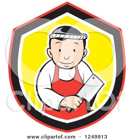 Clipart of a Cartoon Asian Butcher Man with a Meat Ceaver in a Shield - Royalty Free Vector Illustration by patrimonio