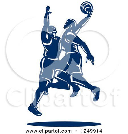 Clipart of Retro Blue Male Basketball Players - Royalty Free Vector Illustration by patrimonio