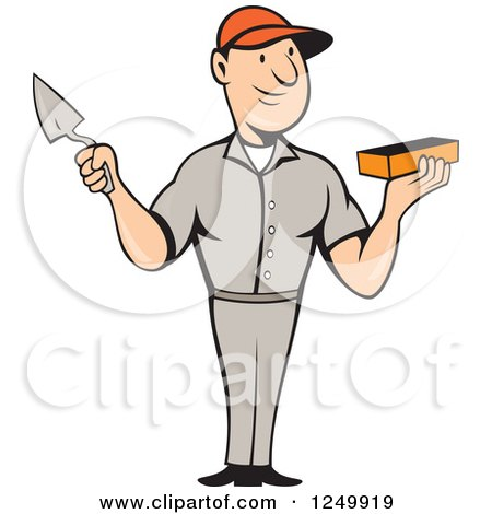 Clipart of a Cartoon Male Mason Worker Holding a Brick and Trowel - Royalty Free Vector Illustration by patrimonio