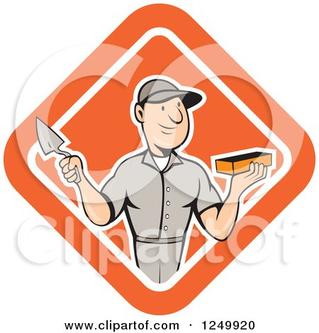 Clipart of a Cartoon Male Mason Worker Holding a Brick and Trowel in a Diamond - Royalty Free Vector Illustration by patrimonio