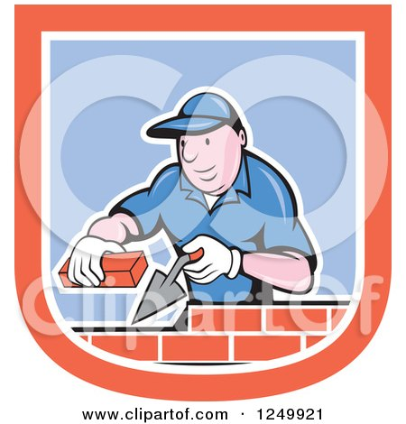 Clipart of a Cartoon Male Mason Worker Laying Bricks in a Shield - Royalty Free Vector Illustration by patrimonio