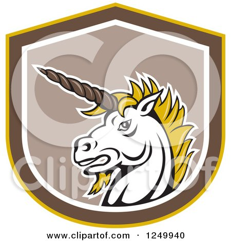 Clipart of a Retro Unicorn Head in a Shield - Royalty Free Vector Illustration by patrimonio