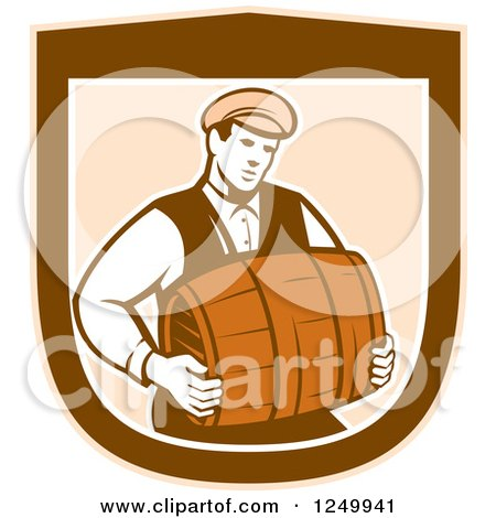 Clipart of a Retro Male Bartender Carrying a Keg in a Shield - Royalty Free Vector Illustration by patrimonio