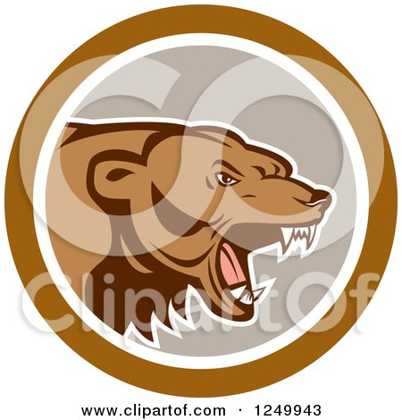 Clipart of a Roaring Angry Grizzly Bear in a Gray and Brown Circle - Royalty Free Vector Illustration by patrimonio