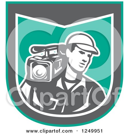 Clipart of a Retro Male Cameraman Recording in a Green and Gray Shield - Royalty Free Vector Illustration by patrimonio