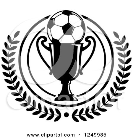 Clipart Of A Black And White Soccer Ball On A Trophy Cup In A Laurel