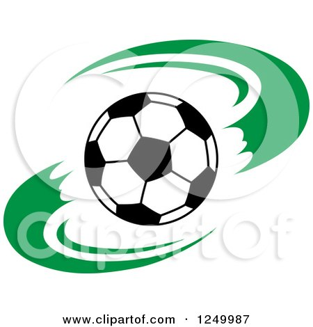 Clipart of a Black and White Soccer Ball and Green Swooshes - Royalty Free Vector Illustration by Vector Tradition SM