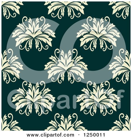 Clipart of a Seamless Background Pattern of Damask - Royalty Free Vector Illustration by Vector Tradition SM