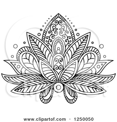 clipart of a black and white henna lotus flower 16 royalty free vector illustration by vector. Black Bedroom Furniture Sets. Home Design Ideas