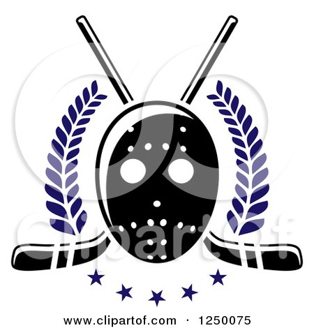 Clipart of a Black and White Hockey Mask with Sticks and Blue Stars and Laurels - Royalty Free Vector Illustration by Vector Tradition SM