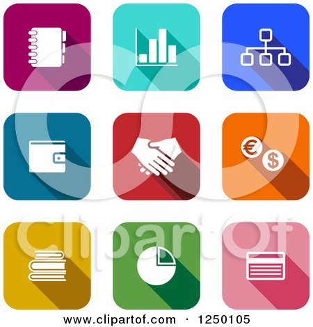Clipart of Colorful Square Finance Icons - Royalty Free Vector Illustration by Vector Tradition SM