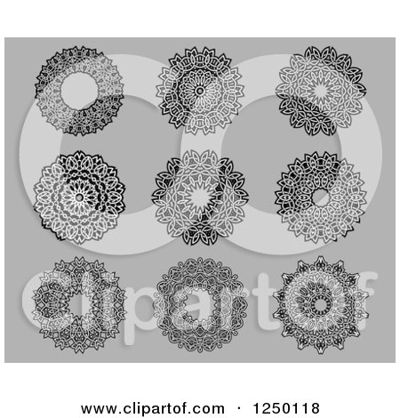 Clipart of Celtic Designs on Gray - Royalty Free Vector Illustration by Vector Tradition SM