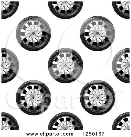 Clipart of a Seamless Background Pattern of Tires Ad Rims - Royalty Free Vector Illustration by Vector Tradition SM