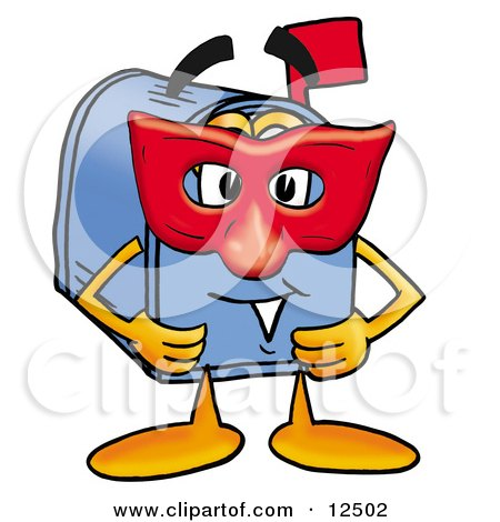 Blue Postal Mailbox Cartoon Character Wearing a Red Mask Over His Face Posters, Art Prints