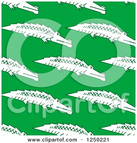Clipart of a Seamless Background Pattern of Crocodiles on Green - Royalty Free Vector Illustration by Vector Tradition SM