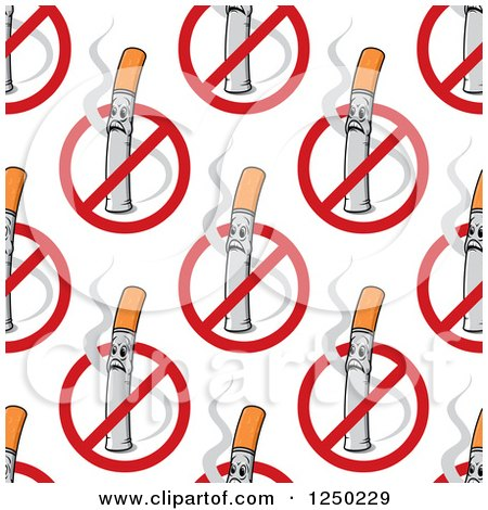 Clipart of a Seamless Background Pattern of No Smoking Symbols - Royalty Free Vector Illustration by Vector Tradition SM
